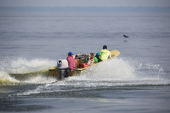 Speed boat cruising on the Maracaibo lake, Venezuela Royalty Free Stock Image