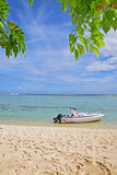 Speed boat docked at seashore with visible green leaves and sandy beach Stock Image