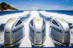 Speed Boats Engines with Full Speed Drive Stock Photography