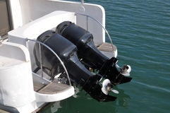 Speed Boat Engines. Outboard motor boat engine propellers Royalty Free Stock Photography