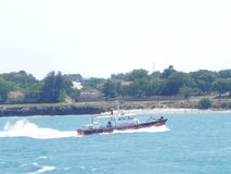 Speed Boat at the Indian Ocean Mombasa. Speed Boat directng hip at the Indian Ocean Mombasaat the East African Coast Stock Photo
