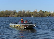 Speed boat Ka-Khem 730 on the river Moscow. Stock Images