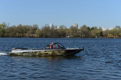 Speed boat Ka-Khem 730 on the river Moscow. Royalty Free Stock Image