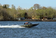 Speed boat Ka-Khem 730 on the river Moscow. Royalty Free Stock Photography