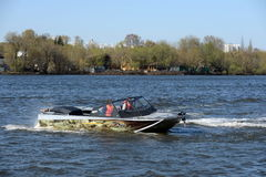 Speed boat Ka-Khem 730 on the river Moscow. Stock Image