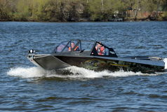 Speed boat Ka-Khem 730 on the river Moscow. Royalty Free Stock Images