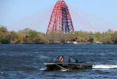 Speed boat Ka-Khem 665 on the river Moscow. Royalty Free Stock Images