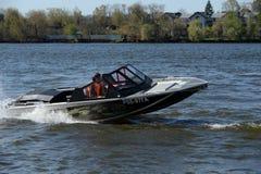 Speed boat Ka-Khem 665 on the river Moscow. Royalty Free Stock Photos