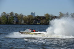 Speed boat Ka-Khem 730 on the river Moscow. Royalty Free Stock Photo