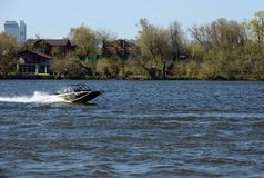 Speed boat Ka-Khem 665 on the river Moscow. Stock Images