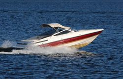 Speed boat on a lake royalty free stock image