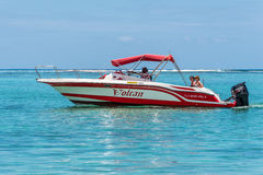 Speed Boat on the Le Morne Beach Royalty Free Stock Images