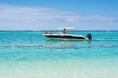Speed boat on the Le Morne Beach Stock Images