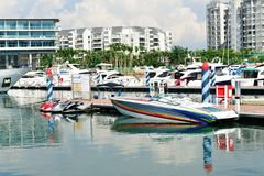 Speed boat and luxury yachts at Yacht Show Royalty Free Stock Photography