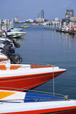 Speed boat marina. Speed boats for travel at Bali Hai Pier Pattaya Royalty Free Stock Photo