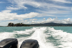 Speed boat motor water wave Beautiful rock sea with blue sky in Koh Samui Thailand. Speed boat motor water wave Beautiful rock and sea with blue sky in Koh Samui Stock Image