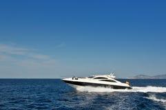 Speed boat. Near the coast of Ibiza island, Mediterranean Sea Stock Photo