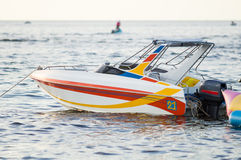 Speed boat No.21. Speed boat No. is parked near Bangsaen beach stock images