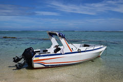 Speed boat with outboard motor engine Stock Photos