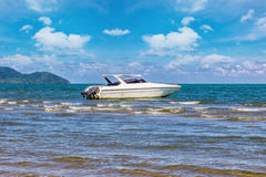 Speed boat park at beauty Island Royalty Free Stock Photography