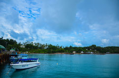 Speed boat pier. By the pier at koh mak in Thailand Stock Images