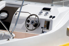 Speed boat rudder. Rudder and control panel of a speed boat Stock Images