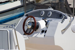 Speed boat rudder. Rudder and control panel of a speed boat Royalty Free Stock Image
