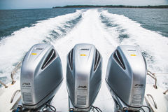 Speed Boat's Engines. With Full Speed Drive Stock Photos