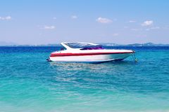 Speed boat on the sea. Near the shore Stock Images
