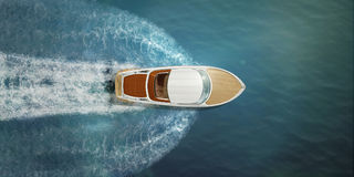 Speed boat. At sea, view from above royalty free stock images