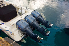 A speed-boat with three engines Royalty Free Stock Photos