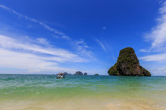 Speed boat to travle with railay beach Stock Image