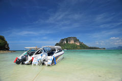 Speed Boat. Travel around the island in south of Thailand in holiday Royalty Free Stock Image