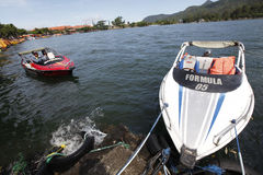 Speed boat. Traveler was renting a speed boat on a lake in Sarangan, East Java, Indonesia stock images