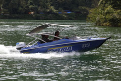 Speed boat. Traveler was renting a speed boat on a lake in Sarangan, East Java, Indonesia stock image