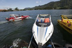 Speed boat. Travelers enjoy the water by renting a speed boat in Magetan, East Java, Indonesia stock photography
