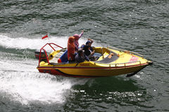 Speed boat. Travelers enjoy the water by renting a speed boat in Magetan, East Java, Indonesia royalty free stock images