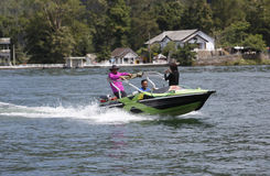 Speed boat. Travelers enjoy the water by renting a speed boat in Magetan, East Java, Indonesia royalty free stock image