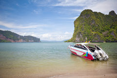 Speed boat in tropical sea Royalty Free Stock Images