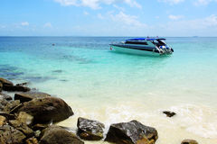 Speed boat in tropical sea Royalty Free Stock Photo