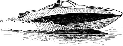 Speed boat. Vector drawing of a speed motorboat at racing Royalty Free Stock Photography