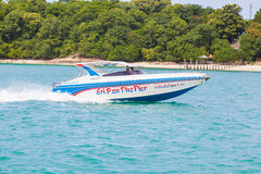 The speed boat was use for transport peopl Stock Photos