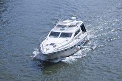 Speed boat in seine river of paris Stock Photo