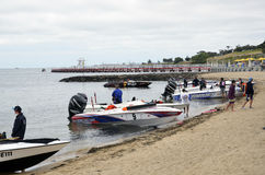 Speed Boats. Rest time at the Australian Open Water Ski Championship Weekend, held at Geelong, Victoria, Australia. December 2012. The Outboards will tow a Stock Images