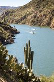 Speed boats on Apache Lake stock images