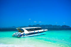 Speed boats at the beautiful beach landscape in Thailand Royalty Free Stock Photos