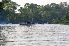 Speed boats cruising on the Maracaibo river, Venezuela Stock Photo