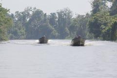 Speed boats cruising on the Maracaibo river, Venezuela Stock Image