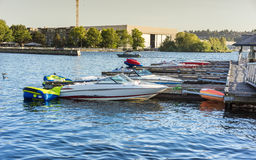 Speed boats docked at the pier Royalty Free Stock Image