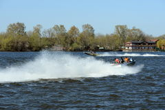 Speed boats Ka-Khem on the river Moscow. Stock Photos